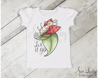 Let it go Ladybug Girls Shirt - Sew Lucky Embroidery