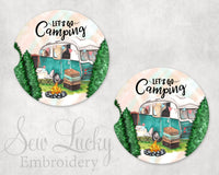 Let's go Camping Sandstone Car Coasters - Sew Lucky Embroidery