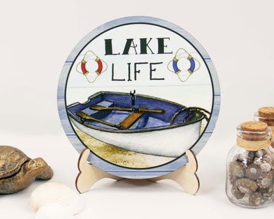 Lake Life Boat Tier Tray Sign and Stand