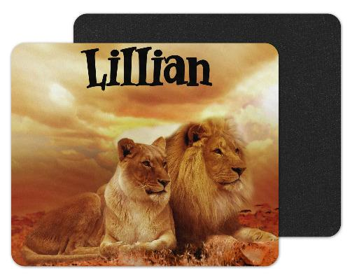 Lions in Safari Custom Personalized Mouse Pad - Sew Lucky Embroidery