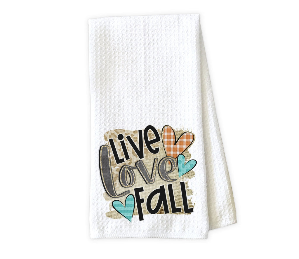 Live Love Fall Kitchen Towel - Waffle Weave Towel - Microfiber Towel - Kitchen Decor - House Warming Gift - Sew Lucky Embroidery