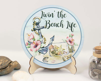 Livin' the Beach Life Tier Tray Sign and Stand
