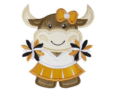 Longhorn Cow Cheerleader Football Patch
