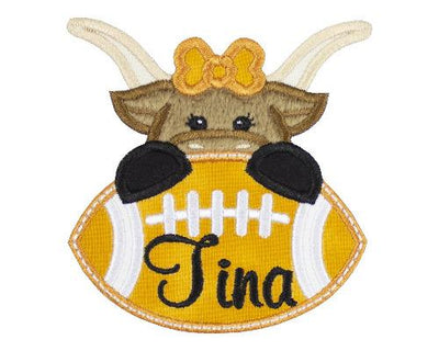 Longhorn Cow Football Personalized Patch