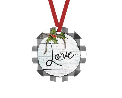 Love Gray Buffalo Plaid Christmas Ornament - Sew Lucky Embroidery