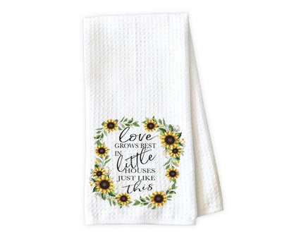 Love Grows Best in Little Houses Just Like This Waffle Weave Microfiber Kitchen Towel