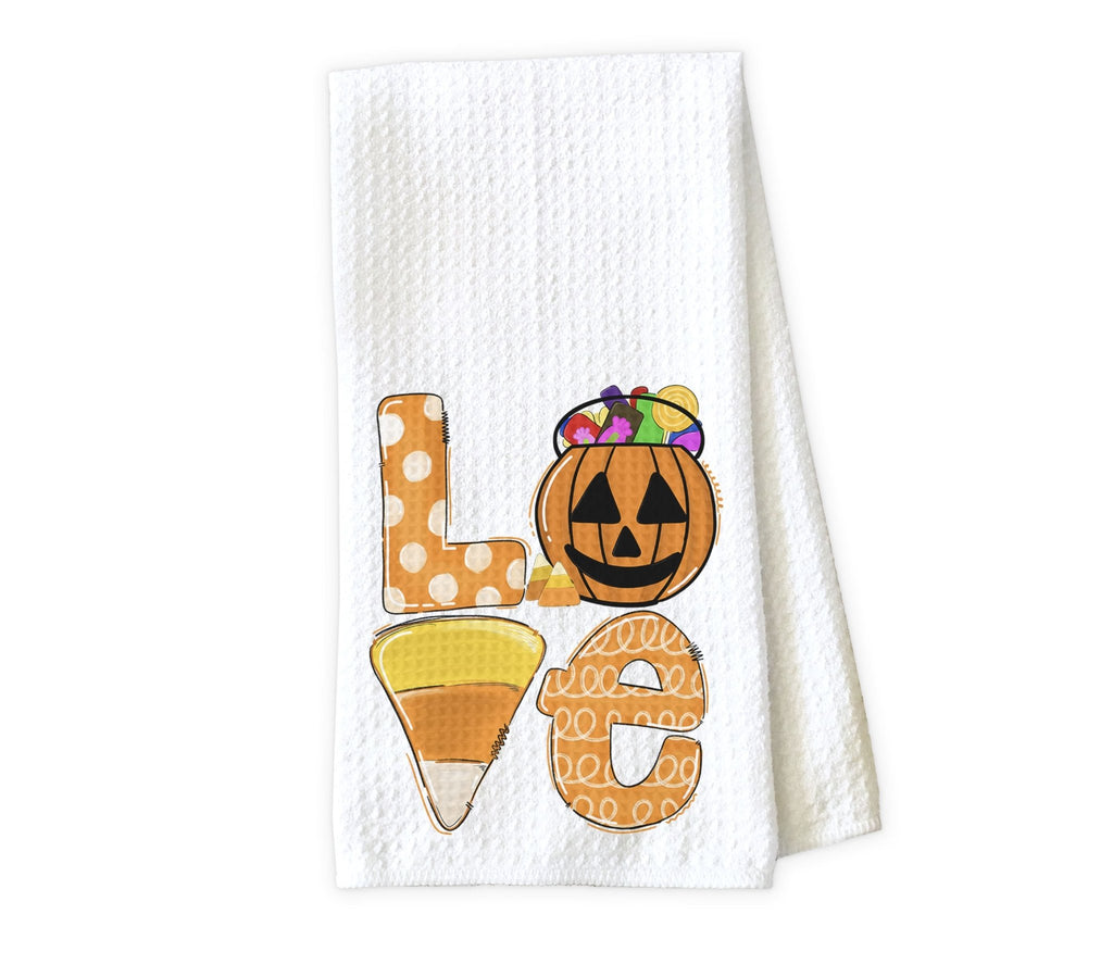 Love Halloween Kitchen Towel - Waffle Weave Towel - Microfiber Towel - Kitchen Decor - House Warming Gift - Sew Lucky Embroidery