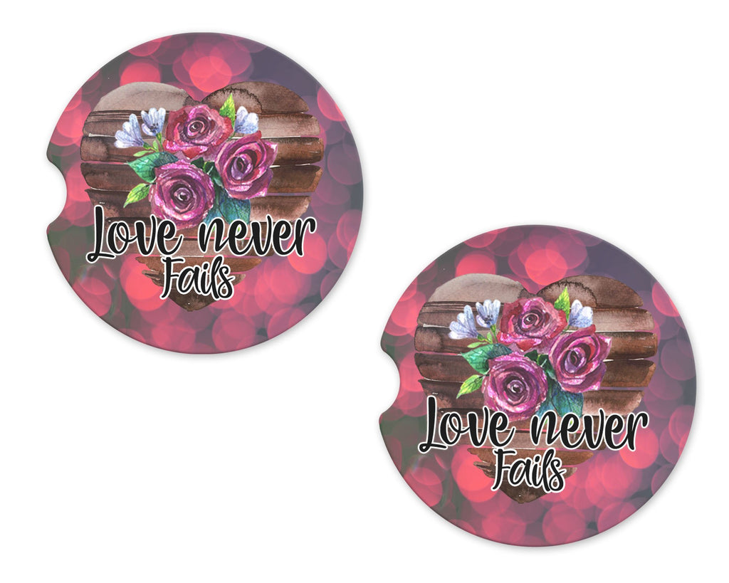 Love Never Fails Roses Sandstone Car Coasters - Sew Lucky Embroidery