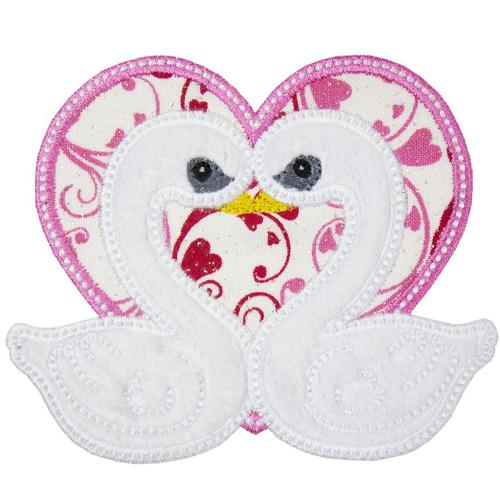 Love Swans Patch - Sew Lucky Embroidery