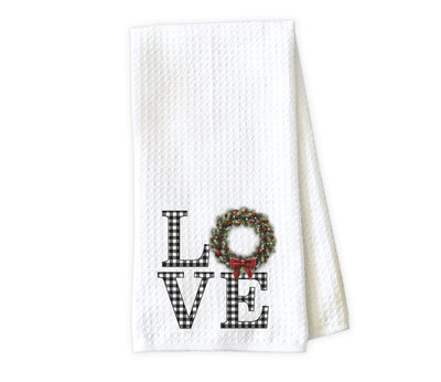 Love with Holly Wreath Waffle Weave Microfiber Kitchen Towel