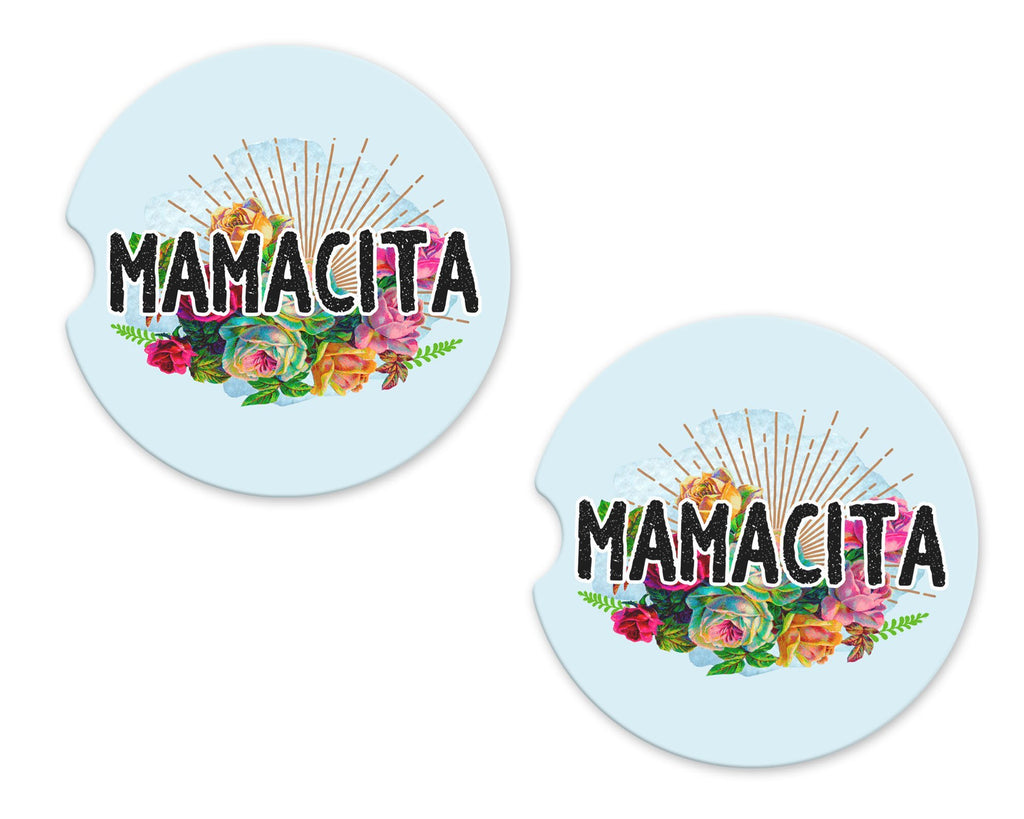 Mamacita Sandstone Car Coasters - Sew Lucky Embroidery
