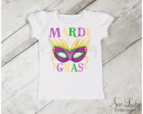 Mardi Gras Mask Girls Shirt - Sew Lucky Embroidery