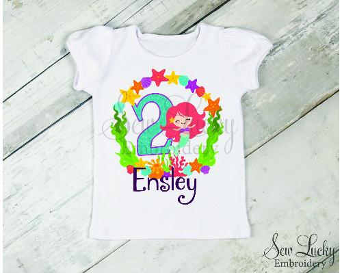 Mermaid Girls Personalized Birthday Shirt - Sew Lucky Embroidery