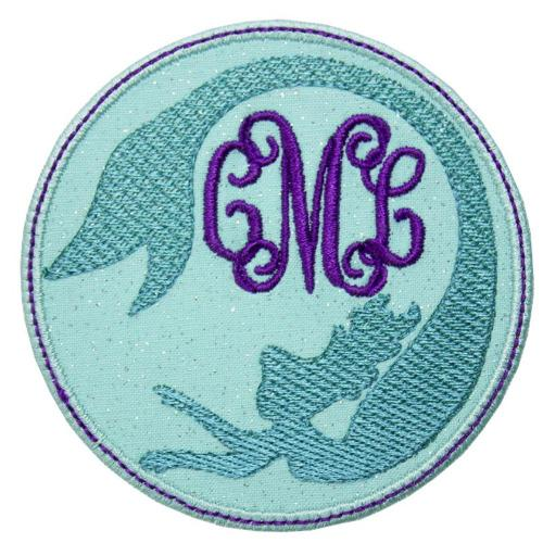 Mermaid Monogrammed Patch - Sew Lucky Embroidery