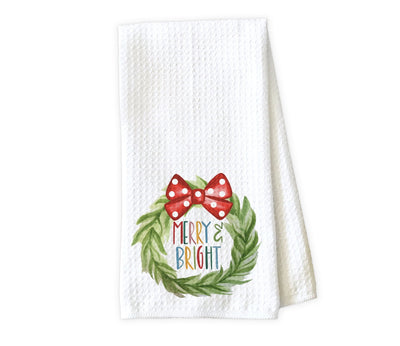 Merry and Bright Christmas Wreath Waffle Weave Microfiber Kitchen Towel