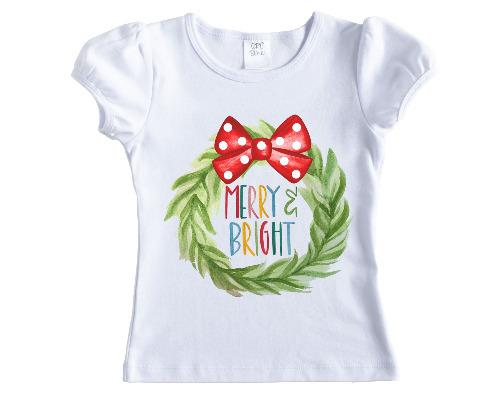 Merry and Bright Christmas Wreath Shirt - Sew Lucky Embroidery