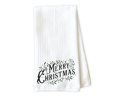 Merry Christmas Waffle Weave Microfiber Kitchen Towel