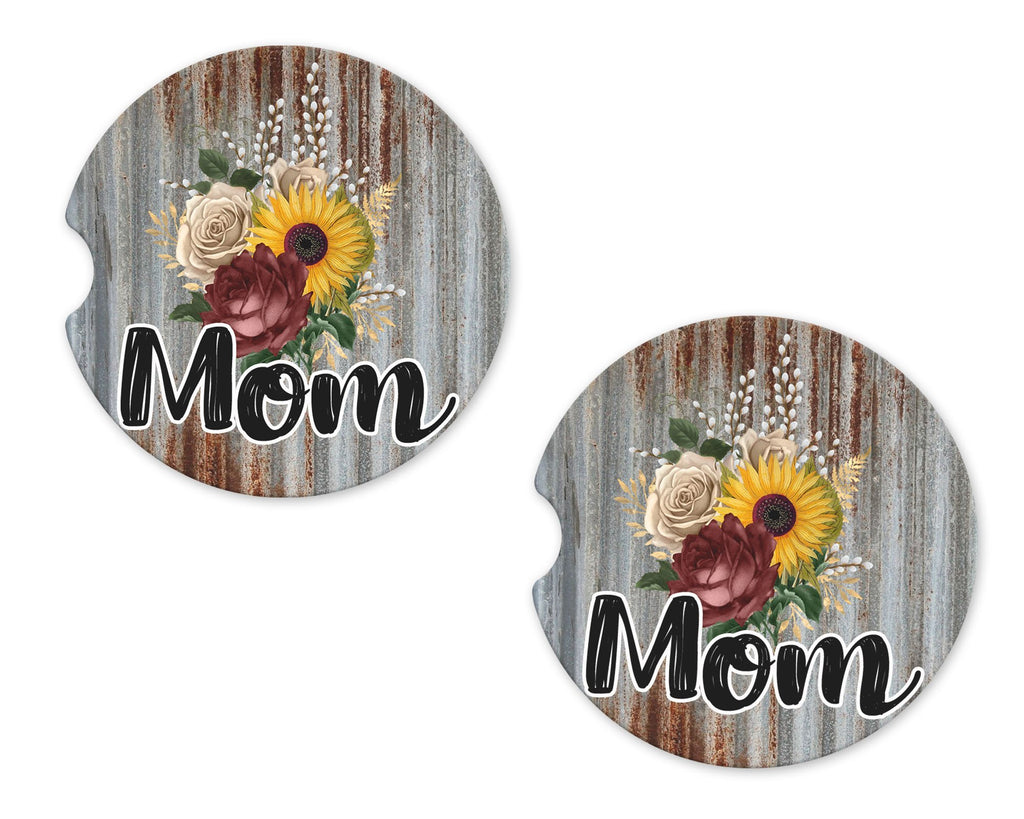 Metal Flowers Mom Sandstone Car Coasters - Sew Lucky Embroidery