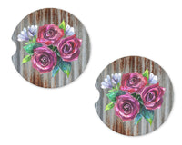 Metal with Roses Sandstone Car Coasters - Sew Lucky Embroidery