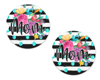 Mom Floral Stripes Sandstone Car Coasters - Sew Lucky Embroidery