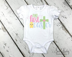 My First Easter girls baby bodysuit - Sew Lucky Embroidery