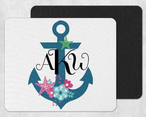 Nautical Ship Anchor Custom Monogram Mouse Pad - Sew Lucky Embroidery