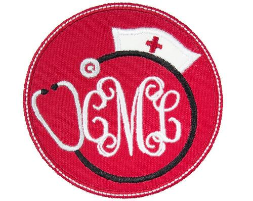 Nurse Hat Monogram Patch - Sew Lucky Embroidery