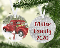 Old Truck with Snowman Christmas Ornament Personalized - Sew Lucky Embroidery