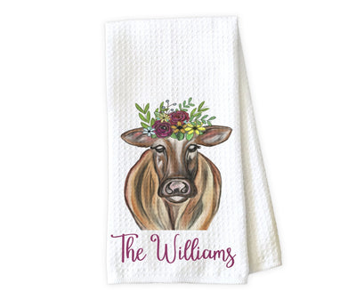 Painted Cow Personalized Waffle Weave Microfiber Kitchen Towel