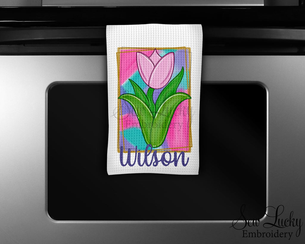 Painted Tulips Personalized Kitchen Towel - Waffle Weave Towel - Microfiber Towel - Kitchen Decor - House Warming Gift - Sew Lucky Embroidery