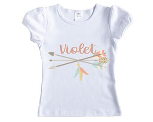 Pastel Arrows Girls Personalized Shirt - Sew Lucky Embroidery