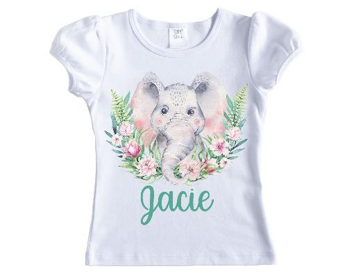 Pastel Elephant Personalized Girls Shirt - Sew Lucky Embroidery