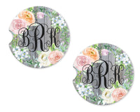 Pastel Floral and Wood Sandstone Car Coasters - Sew Lucky Embroidery