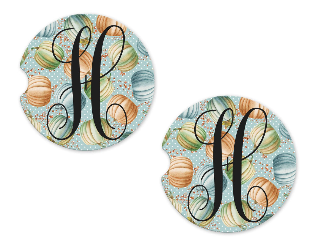 Pastel Pumpkins Sandstone Car Coasters - Sew Lucky Embroidery