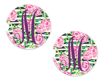 Pastel Stripes and Roses Sandstone Car Coasters - Sew Lucky Embroidery