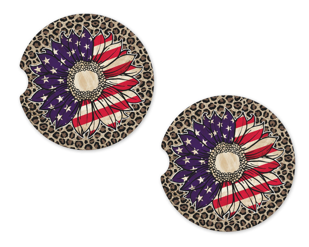 Patriotic Sunflower on Leopard Sandstone Car Coasters - Sew Lucky Embroidery