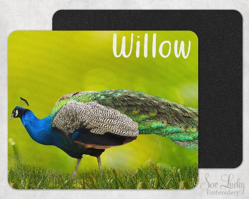 Peacock Custom Personalized Mouse Pad - Sew Lucky Embroidery