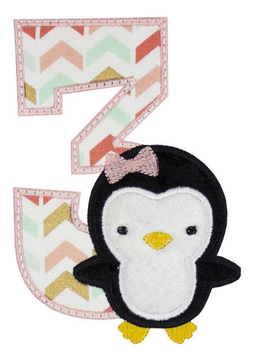 Penguin Birthday Number Patch - Sew Lucky Embroidery