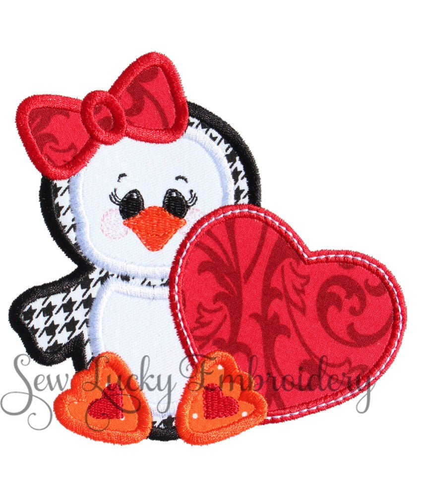 Hounds tooth Penguin with Damask Heart Patch