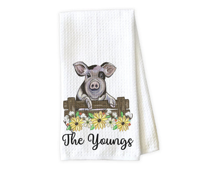 Pig and Sunflowers Personalized Waffle Weave Microfiber Kitchen Towel