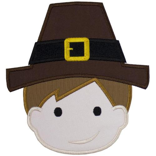 Pilgrim Boy Thanksgiving Patch - Sew Lucky Embroidery