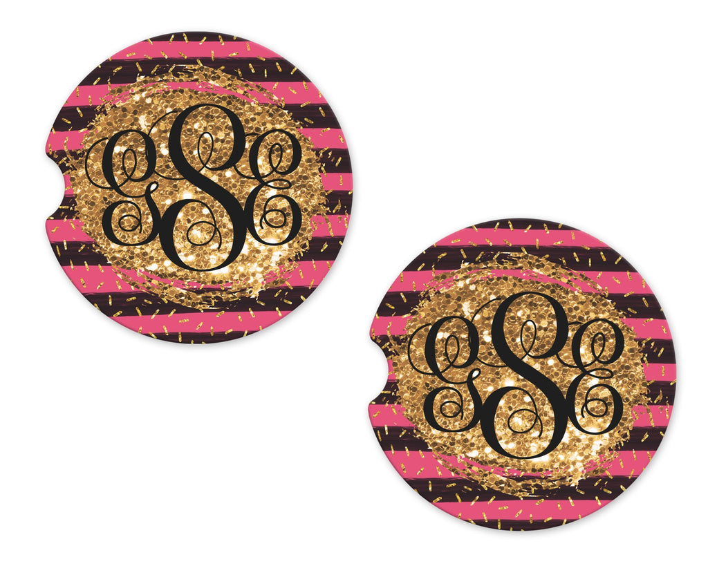 Pink and Black Stripes on Glitter Sandstone Car Coasters - Sew Lucky Embroidery