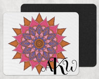 Pink and Blue Mandala Custom Monogram Mouse Pad - Sew Lucky Embroidery