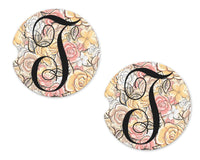 Pink and Orange Roses Sandstone Car Coasters - Sew Lucky Embroidery