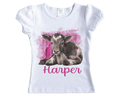 Pink Baby Cow Girls Personalized Shirt - Sew Lucky Embroidery