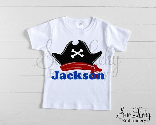 Pirate Hat Personalized Shirt - Sew Lucky Embroidery