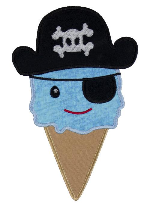 Pirate Ice cream Cone Patch - Sew Lucky Embroidery