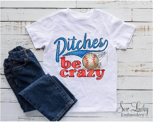 Pitches Be Crazy Boys Baseball Shirt - Sew Lucky Embroidery