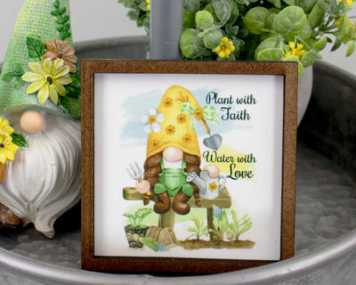 Plant with Faith Gnome Tier Tray Sign