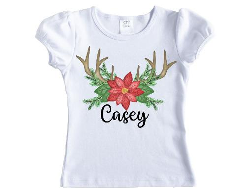 Poinsettia with Antlers Christmas Personalized Girls Shirt - Sew Lucky Embroidery